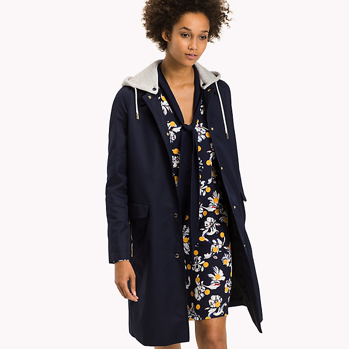 TOMMY HILFIGER Hooded Cotton Coat - PEBBLE - TOMMY HILFIGER Women - main image