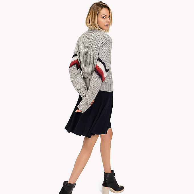 TOMMY HILFIGER Alpaca Wool Blend Cropped Jumper - SNOW WHITE - TOMMY HILFIGER Clothing - detail image 1