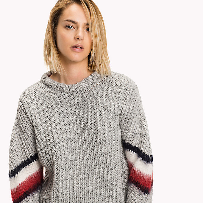 TOMMY HILFIGER Alpaca Wool Blend Cropped Jumper - SNOW WHITE - TOMMY HILFIGER Clothing - detail image 2