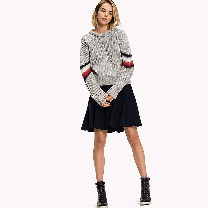 TOMMY HILFIGER Alpaca Wool Blend Cropped Jumper - SNOW WHITE - TOMMY HILFIGER Clothing - main image