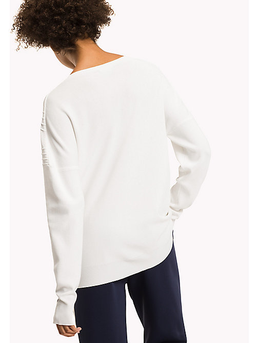 TOMMY HILFIGER Comfort Fit V-Neck Jumper - SNOW WHITE - TOMMY HILFIGER Knitwear - detail image 1