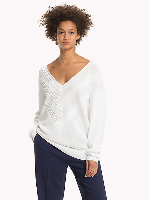 TOMMY HILFIGER Comfort Fit V-Neck Jumper - SNOW WHITE - TOMMY HILFIGER Knitwear - main image