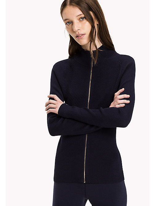 TOMMY HILFIGER Mock Neck Cardigan - PEACOAT -  Knitwear - main image