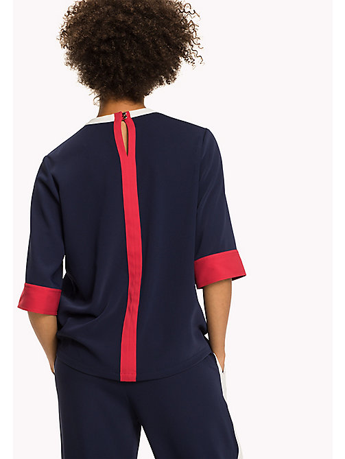 TOMMY HILFIGER Signature Colour Satin Top - PEACOAT / CRIMSON - TOMMY HILFIGER Tops - detail image 1