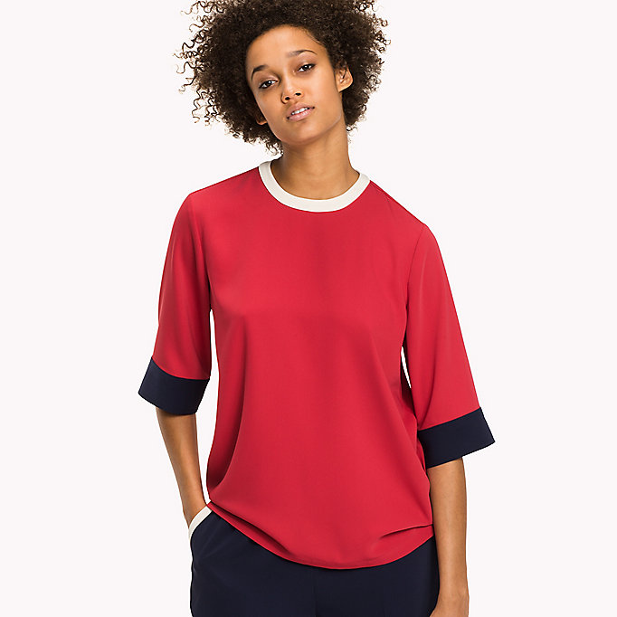 TOMMY HILFIGER Satin-Top in Signature-Farben - PEACOAT / CRIMSON - TOMMY HILFIGER Damen - main image 2