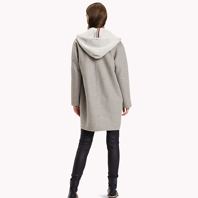 TOMMY HILFIGER Hooded Wool Coat - PEACOAT - TOMMY HILFIGER Clothing - detail image 1