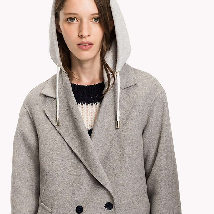 TOMMY HILFIGER Hooded Wool Coat - PEACOAT - TOMMY HILFIGER Clothing - detail image 3
