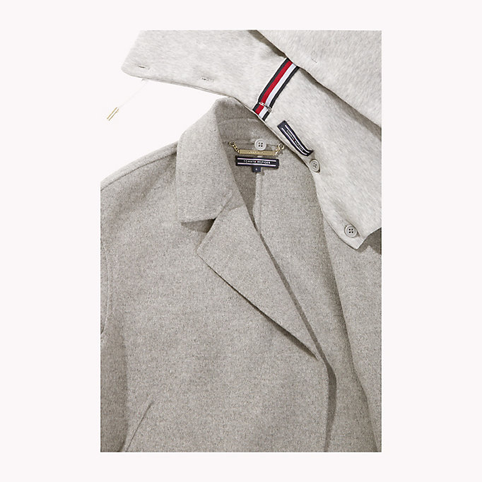 TOMMY HILFIGER Hooded Wool Coat - PEACOAT - TOMMY HILFIGER Clothing - detail image 5