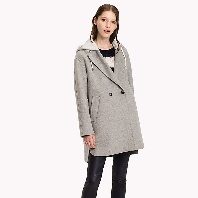 TOMMY HILFIGER Hooded Wool Coat - PEACOAT - TOMMY HILFIGER Clothing - main image