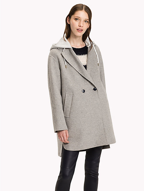 TOMMY HILFIGER Hooded Wool Coat - LIGHT GREY HTR - TOMMY HILFIGER Coats & Jackets - main image