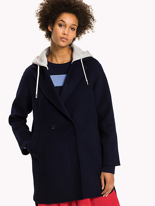 TOMMY HILFIGER Hooded Wool Coat - PEACOAT - TOMMY HILFIGER Coats & Jackets - main image