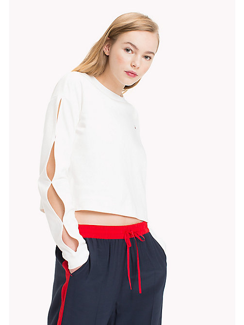 TOMMY HILFIGER Cropped Cotton Top - SNOW WHITE - TOMMY HILFIGER Athleisure - main image