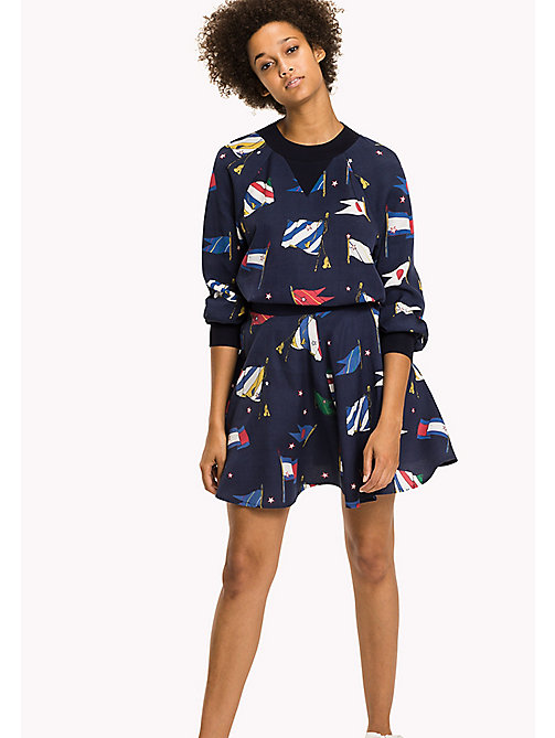 TOMMY HILFIGER Printed A-Line Skirt - TOMMY FLAG PRT / PEACOAT - TOMMY HILFIGER Skirts - main image