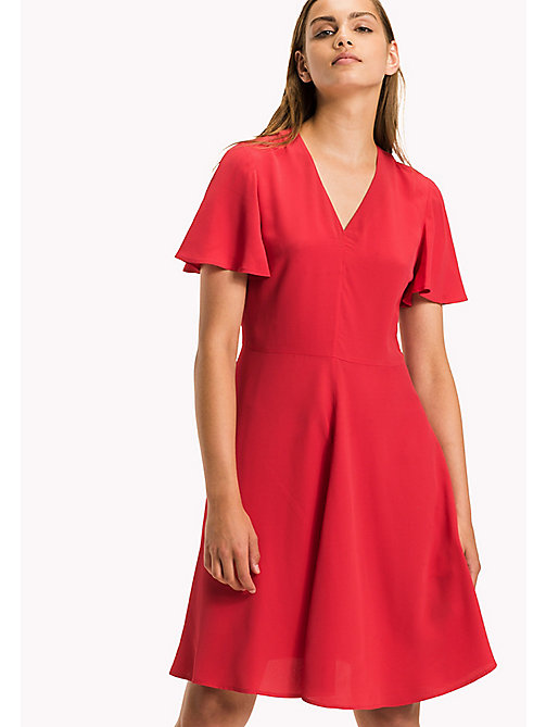 TOMMY HILFIGER Fit and Flare Striped Dress - CRIMSON - TOMMY HILFIGER Dresses & Jumpsuits - main image
