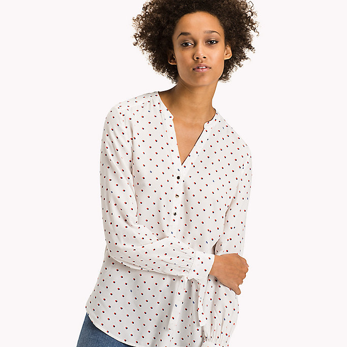 TOMMY HILFIGER Patterned Crepe de Chine Blouse - TINY DOUBLE DOT PRT / NAVY BL - TOMMY HILFIGER Clothing - main image