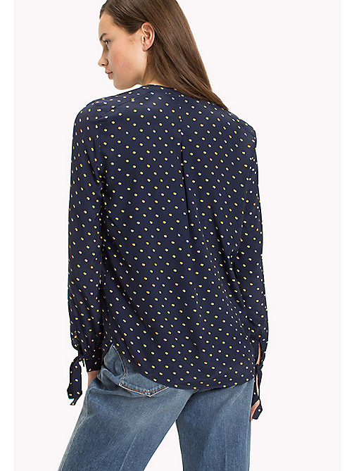 TOMMY HILFIGER Patterned Crepe de Chine Blouse - TINY DOUBLE DOT PRT / NAVY BL - TOMMY HILFIGER Tops - detail image 1