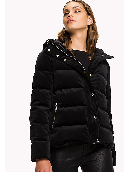 TOMMY HILFIGER Velvet Puffer Jacket - BLACK BEAUTY - TOMMY HILFIGER Coats & Jackets - main image