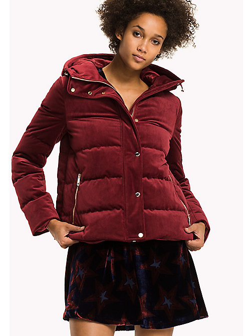TOMMY HILFIGER Velvet Puffer Jacket - RIO RED - TOMMY HILFIGER Coats & Jackets - main image