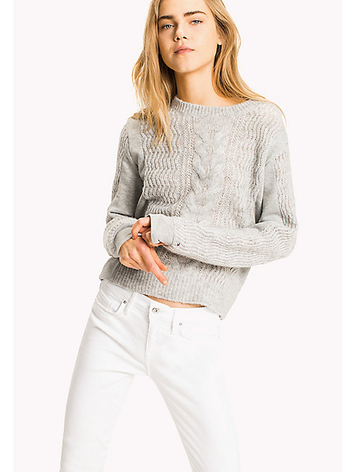 TOMMY HILFIGER Fabric Mix Cable Jumper - LIGHT GREY HTR - TOMMY HILFIGER Clothing - main image