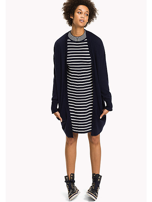 TOMMY HILFIGER Long Wrap Cardigan - PEACOAT - TOMMY HILFIGER Knitwear - main image