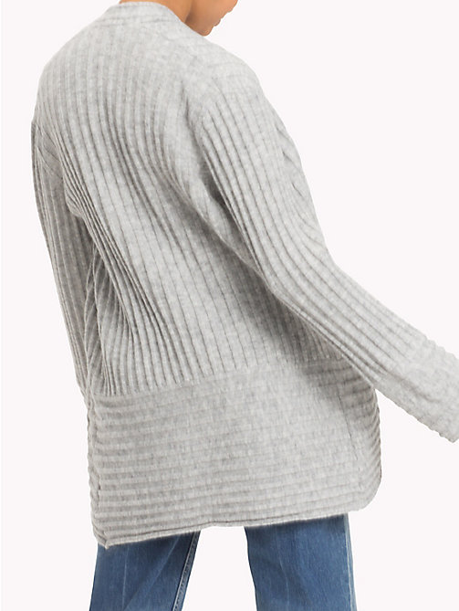 TOMMY HILFIGER Alpaca Wool Blend Open Cardigan - LIGHT GREY HTR - TOMMY HILFIGER Knitwear - detail image 1