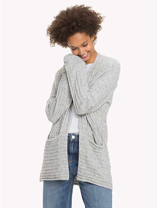 TOMMY HILFIGER Alpaca Wool Blend Open Cardigan - LIGHT GREY HTR - TOMMY HILFIGER Knitwear - main image