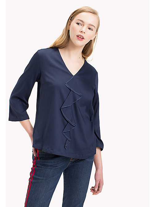 TOMMY HILFIGER Regular Fit Ruffle Top - PEACOAT -  Tops - main image