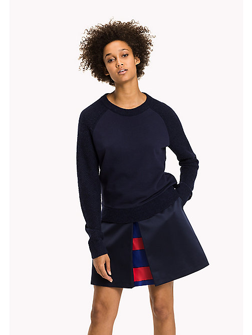 TOMMY HILFIGER Exclusive Fabric Mix Jumper - PEACOAT - TOMMY HILFIGER Knitwear - main image