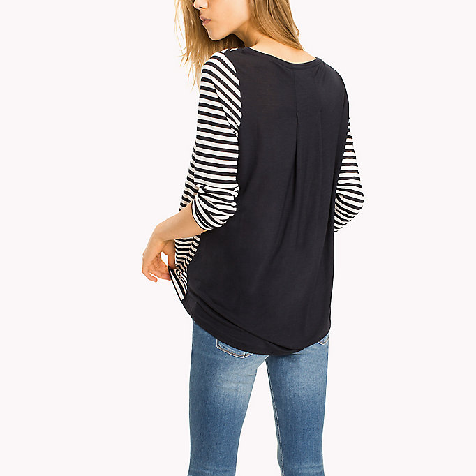 TOMMY HILFIGER Lyocell Bateau Neckline Top - BLACK BEAUTY - TOMMY HILFIGER Clothing - detail image 1