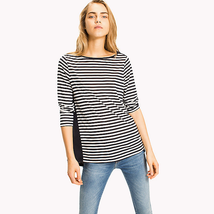 TOMMY HILFIGER Lyocell Bateau Neckline Top - BLACK BEAUTY - TOMMY HILFIGER Clothing - main image