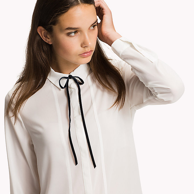 TOMMY HILFIGER Chiffon Necktie Blouse - MIDNIGHT - TOMMY HILFIGER Clothing - detail image 2