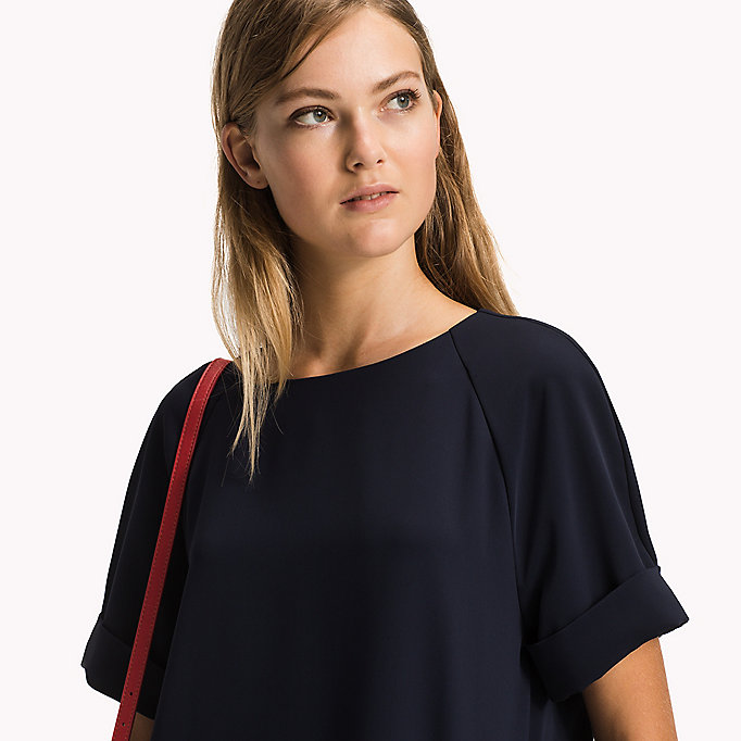 TOMMY HILFIGER Satin Crew Neck Top - SNOW WHITE - TOMMY HILFIGER Clothing - detail image 2