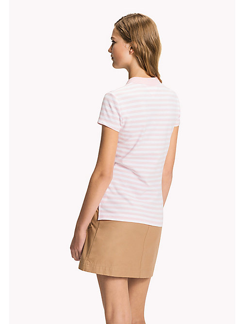 TOMMY HILFIGER Fitted Stripe Polo - ORCHID PINK / CLASSIC WHITE STP - TOMMY HILFIGER Clothing - detail image 1
