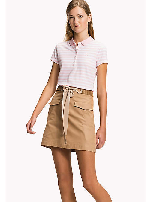 TOMMY HILFIGER Fitted Stripe Polo - ORCHID PINK / CLASSIC WHITE STP - TOMMY HILFIGER Clothing - main image