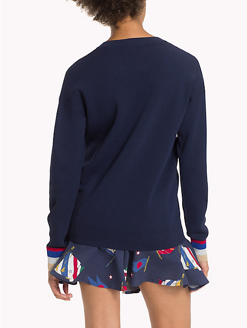 TOMMY HILFIGER Embroidered Logo Jumper - PEACOAT - TOMMY HILFIGER Knitwear - detail image 1