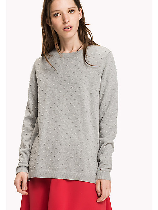 TOMMY HILFIGER Fitted High Neck Jumper - LIGHT GREY HTR - TOMMY HILFIGER Knitwear - main image