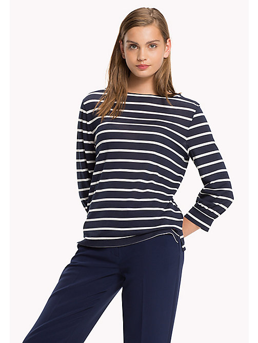 TOMMY HILFIGER Boat Neck Jersey Top - PEACOAT / SNOW WHITE - TOMMY HILFIGER Tops - main image