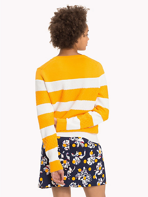 TOMMY HILFIGER Textured Block Stripe Jumper - RADIANT YELLOW / SNOW WHITE - TOMMY HILFIGER Knitwear - detail image 1