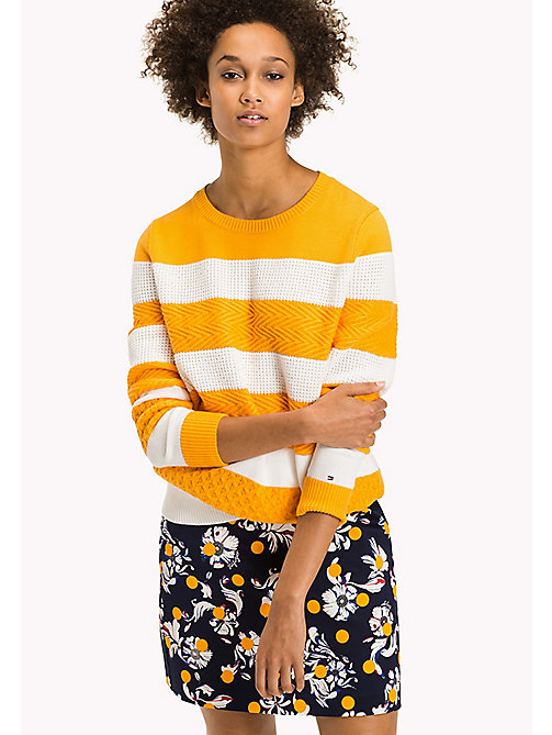 TOMMY HILFIGER Textured Block Stripe Jumper - RADIANT YELLOW / SNOW WHITE - TOMMY HILFIGER Knitwear - main image