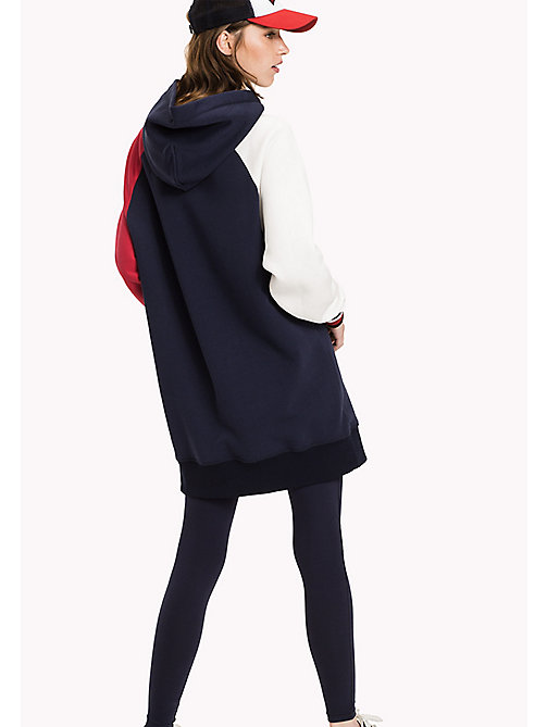 TOMMY HILFIGER Signature Colour Hooded Dress - PEACOAT / SNOW WHITE / CRIMSON - TOMMY HILFIGER Dresses & Jumpsuits - detail image 1
