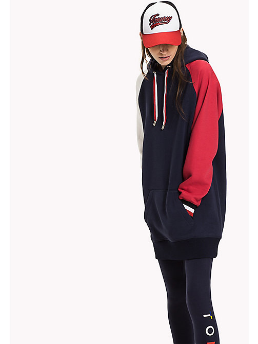 TOMMY HILFIGER Signature Colour Hooded Dress - PEACOAT / SNOW WHITE / CRIMSON - TOMMY HILFIGER Dresses & Jumpsuits - main image