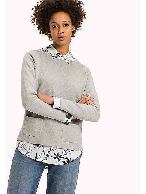 TOMMY HILFIGER Regualr Fit Organic Cotton Jumper - LIGHT GREY HTR - TOMMY HILFIGER Knitwear - main image