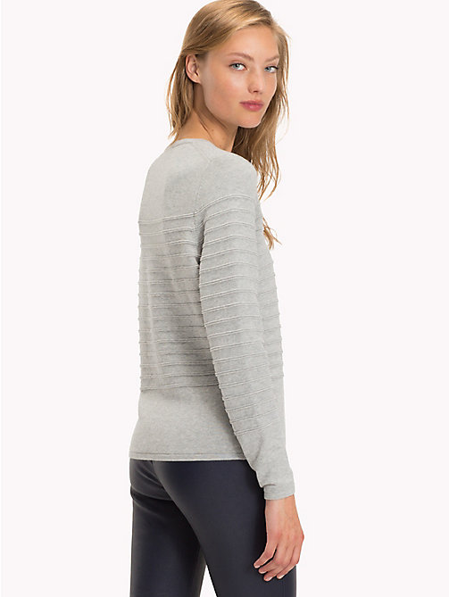 TOMMY HILFIGER Regualr Fit Striped Jumper - LIGHT GREY HTR - TOMMY HILFIGER Knitwear - detail image 1