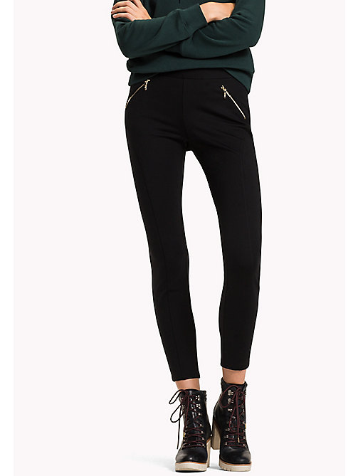 TOMMY HILFIGER Slim Fit Zipped Leggings - BLACK BEAUTY - TOMMY HILFIGER Trousers - main image