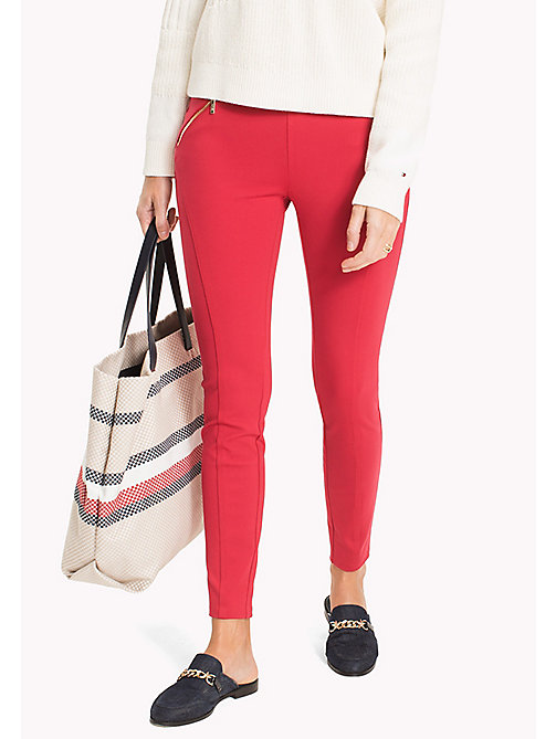 TOMMY HILFIGER Slim Fit Zipped Leggings - CRIMSON - TOMMY HILFIGER Trousers - main image