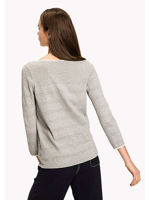 TOMMY HILFIGER Boat Neck Jumper - LIGHT GREY HTR - TOMMY HILFIGER Jumpers - detail image 1