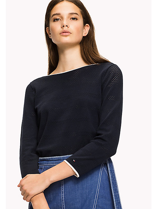 TOMMY HILFIGER Boat Neck Jumper - MIDNIGHT - TOMMY HILFIGER Jumpers - main image