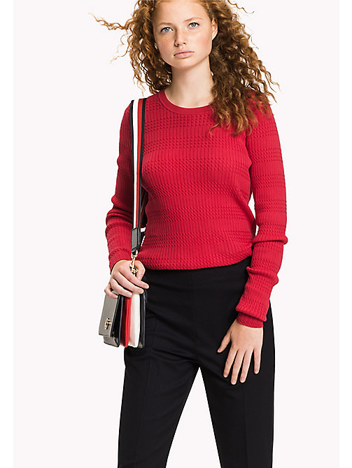 TOMMY HILFIGER Slim Fit Crew Neck Jumper - CRIMSON - TOMMY HILFIGER Jumpers - main image