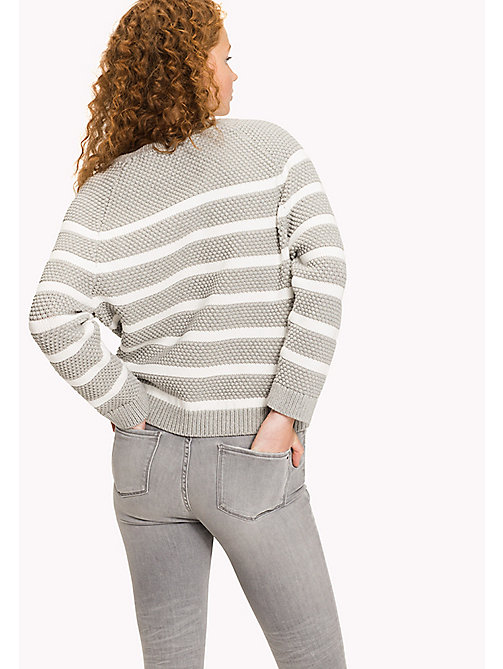 TOMMY HILFIGER Textured Crew Neck Jumper - LIGHT GREY HTR / SNOW WHITE - TOMMY HILFIGER Jumpers - detail image 1