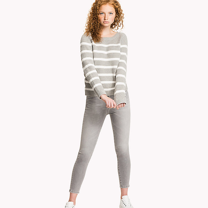 TOMMY HILFIGER Textured Crew Neck Jumper - SNOW WHITE / CLASSIC CAMEL HTR - TOMMY HILFIGER Women - main image